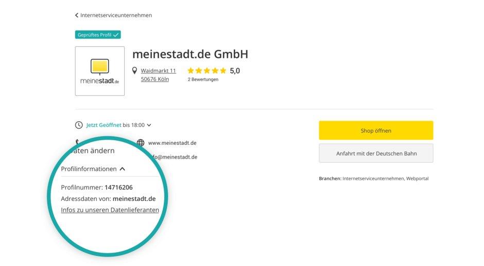 Screenshot Branchenbuch-Profil