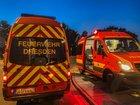 © Feuerwehr Dresden Einsatzleitwagen stehen an der Einsatzstelle.