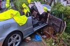 Die Fahrerin wurde in dem PKW eingeklemmt und schwer verletzt.