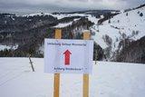 thumbnail - Hinweisschild zur Umleitung der Tour unterhalb der Hirtlerhütte