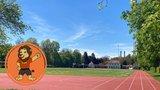 thumbnail - Leichtathletikanlage auf der Sportanlage an der Sachsenstraße mit Maskottchen