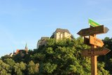 thumbnail - Wanderwegeweiser vor Burg Mildenstein und Stadtkirche St. Matthäi