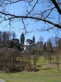 thumbnail - Blick vom Kurpark auf die St. Hubertus-Kirche und den Burgfried
